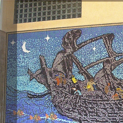 Ship – Ceramic Mosaic Mural